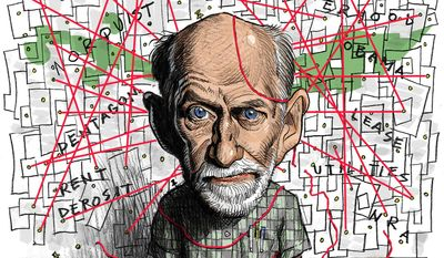 Illustration:Frank Gaffney connects the dots by Alexander Hunter/The Washington Times