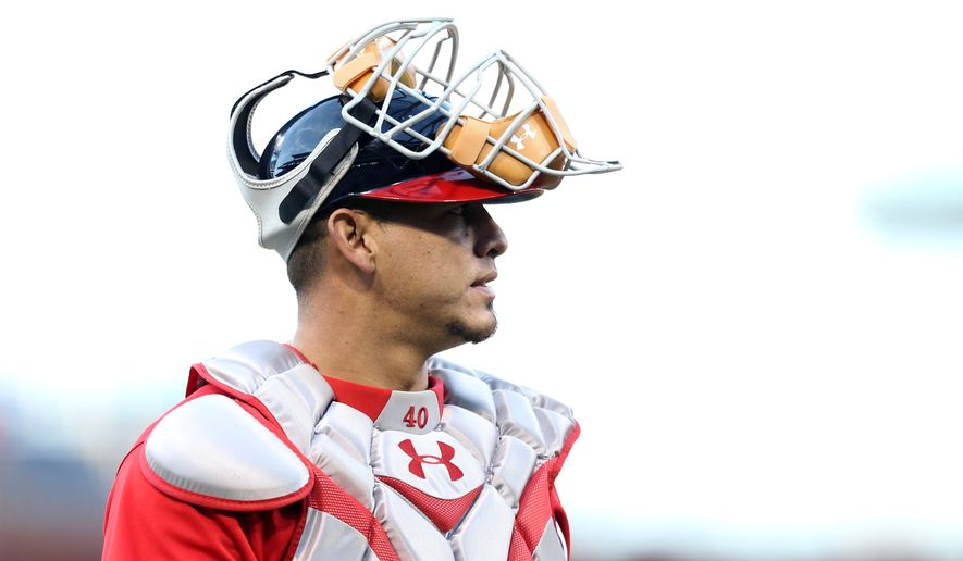 Washington Nationals catcher Wilson Ramos (40) walks on the field during warmups before the start of a baseball game against the Philadelphia Phillies, Saturday, April 16, 2016, in Philadelphia. (AP Photo/Laurence Kesterson)