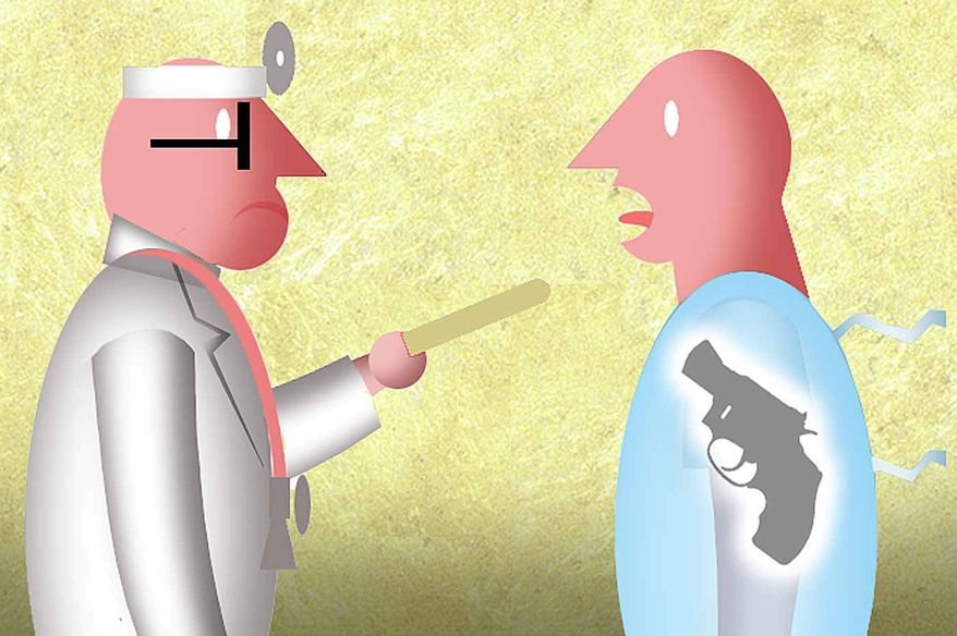 Illustration on doctors prying into patients' gun ownership status by Alexander Hunter/The Washington Times