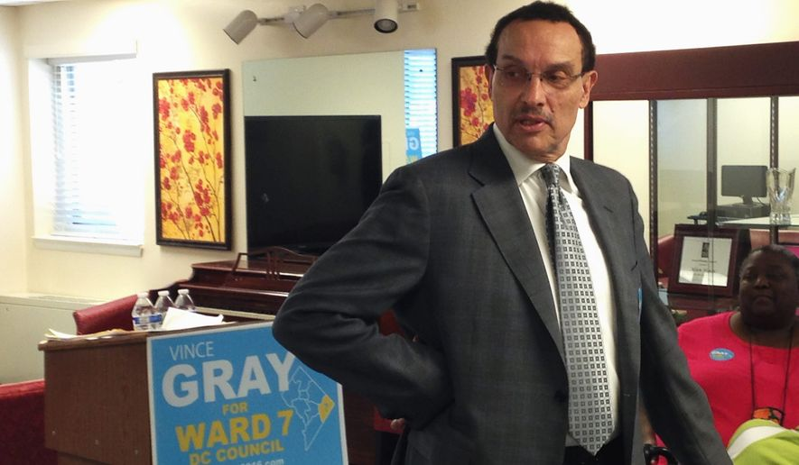 The poll of likely Ward 7 voters showed about 52 percent support for Mr. Gray and 23 percent for Yvette Alexander in the June 14 Democratic primary. (Ryan M. McDermott/The Washington Times)