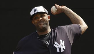 New York Yankees starting pitcher CC Sabathia throws in the bullpen before a spring training baseball game against the Boston Red Sox Saturday, March 5, 2016, in Tampa, Fla. (AP Photo/Chris O'Meara)