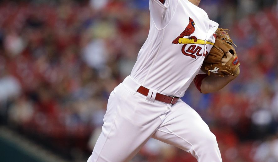 St. Louis Cardinals starting pitcher Mike Leake throws during the first inning of a baseball game against the Chicago Cubs Monday, April 18, 2016, in St. Louis. (AP Photo/Jeff Roberson)