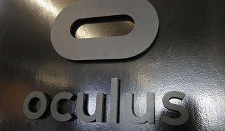 This Tuesday, Nov. 17, 2015, file photo shows a sign on the front door to the Oculus Story Studio, a hub for digital animators and experimental filmmakers in San Francisco's trendy South of Market district. (AP Photo/Eric Risberg, File)