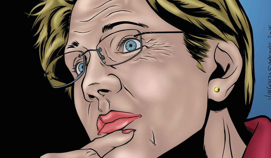 "This undated image provided by Storm Entertainment shows the cover of a comic book ""Female Force: Elizabeth Warren"" featuring a likeness of Massachusetts Sen. Elizabeth Warren. The publication is one in a series called Female Force, which celebrates female empowerment in the comic book medium. (Darren G. Davis/Storm Entertainment via AP)"