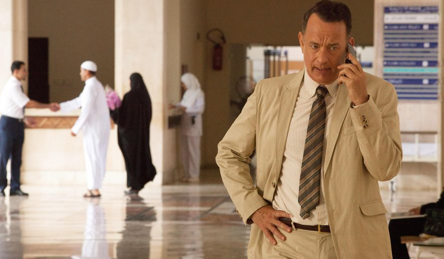"This image released by the Roadside Attractions shows Tom Hanks in a scene from ""A Hologram for the King,"" a film being featured at the Tribeca Film Festival. (Siffedine Elamine/Roadside Attractions via AP)"