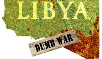 Illustration on the assessment of Obama's involvement in Libya by Alexander Hunter/The Washington Times