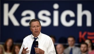 Republican presidential candidate Ohio Gov. John Kasich speaks during a campaign stop in Annapolis, Md., Tuesday, April 19, 2016. (AP Photo/Susan Walsh)