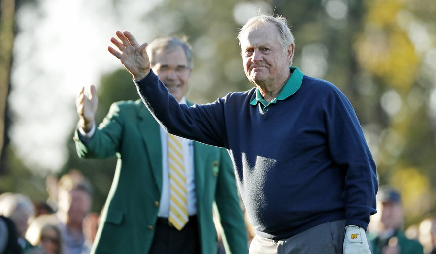 FILE - In t his April 7, 2016, file photo, Jack Nicklaus waves before hitting a ceremonial first tee shot before the opening round of the Masters golf tournament in Augusta, Ga. Justin Thomas was coming off a strong rookie year in 2015, contending a half-dozen times before breaking through for his first PGA Tour victory in Malaysia in October. But then he started the new year in a rut, and he knew just what to do, no matter how awkward it might have seemed. He asked Jack Nicklaus if he could come over to his house to talk. (AP Photo/Matt Slocum, File)