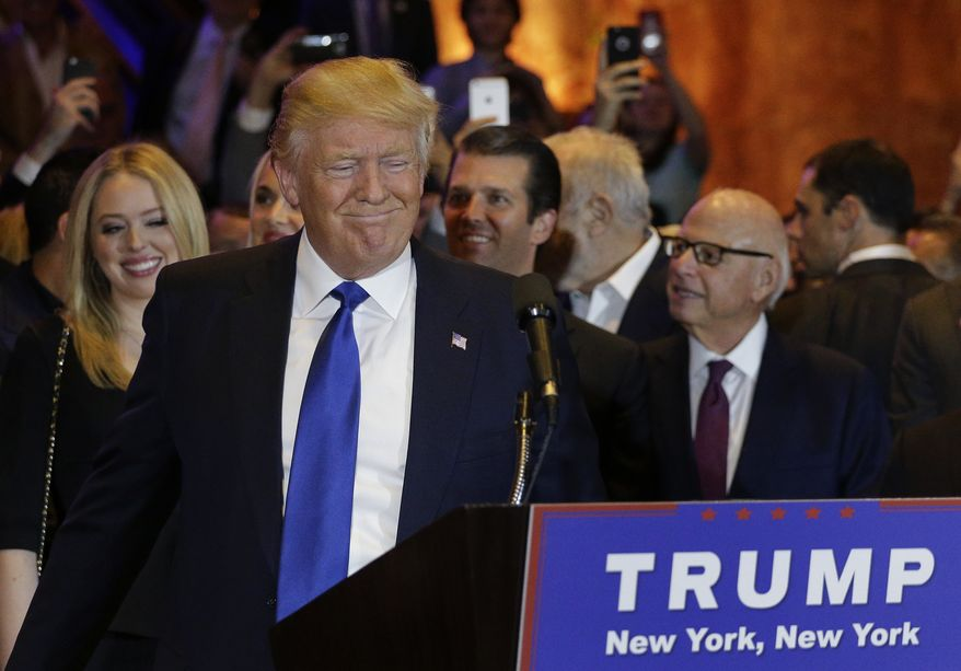 Republican presidential candidate Donald Trump prepares to speak during a New York primary night campaign event Tuesday, April 19, 2016, in New York. (AP Photo/Julie Jacobson)