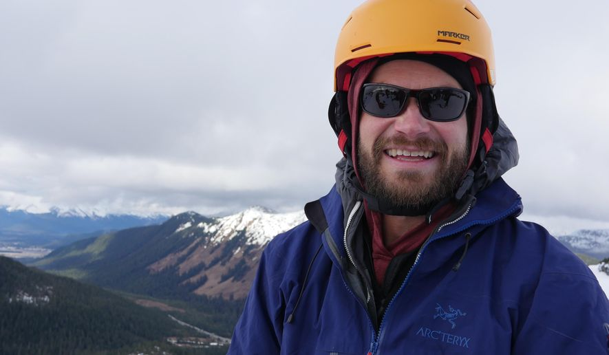 This April 2, 2016, photo provided by Gemini Waltz Media shows Forest Wagner at a Eaglecrest Ski Area in Douglas, Alaska. Wagner, an assistant professor at the University of Alaska Southeast, was mauled by a bear while leading a mountaineering class near Haines, Alaska, on Monday, April 18, 2016. (Photo courtesy of Ryan Cortes Perez, Gemini Waltz Media via AP)
