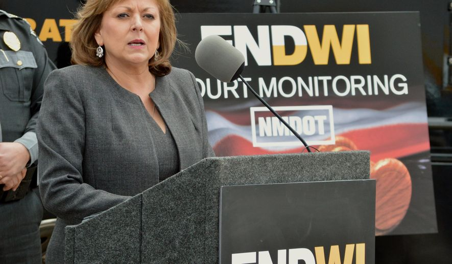 New Mexico Gov. Susana Martinez talks on a new program that will send monitors to courtrooms to watch how judges rule on cases involving suspects with multiple drunken driving convictions, during a news conference in Albuquerque, N.M., Tuesday, April 19, 2016. (AP Photo/Russell Contreras)