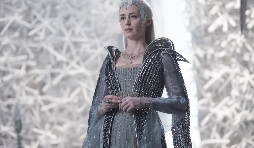 "In this image released by Universal Pictures, Emily Blunt appears in a scene from ""Huntsman: Winter's War."" (Giles Keyte/Universal Pictures via AP)"
