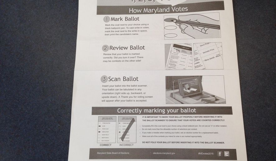 The Maryland State Board of Elections provides instructions for hand-marking a paper ballot in a sample ballot photographed Tuesday, April 19, 2016, in Hagerstown, Md. Maryland is going back to basics, with an ink pen and paper ballot, for the presidential primary elections. (AP Photo/David Dishneau)