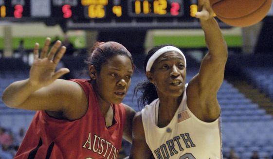 FILE - In this Tuesday, Dec. 30, 2008 file photo, North Carolina's Rashanda McCants, right, reaches for a loose ball over Austin Peay's Jasmine Rayner, left, during the second half of an NCAA college women's basketball game in Chapel Hill, N.C.  An attorney representing McCants and Devon Ramsay, two ex-North Carolina athletes says the school and NCAA are both responsible for UNC's long-running academic fraud scandal that he says denied athletes a quality education. (AP Photo/Sara D. Davis, File)