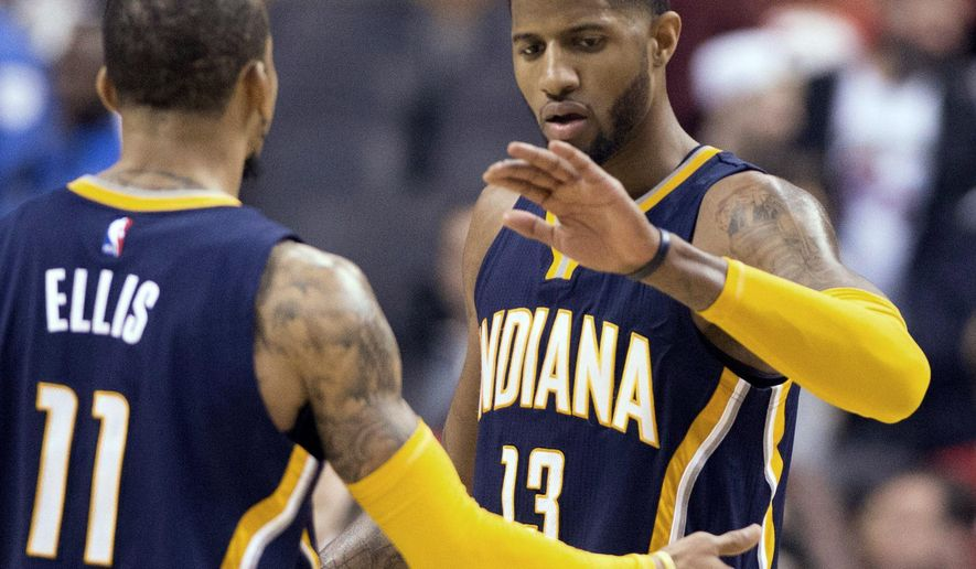FILE - In this Saturday, April 16, 2016, file photo, Indiana Pacers' Paul George (13) and Monta Ellis (11) celebrate after defeating the Toronto Raptors 100-90  in Game 1 in the first round of the  NBA basketball playoffs in Toronto. George has been waiting for his chance to shine on  the big stage again. He hasn't disappointed during this year's playoffs. A little more than 20 months after gruesomely snapping his right leg in USA basketball game, George is looking better than ever. (Frank Gunn/The Canadian Press via AP, File) MANDATORY CREDIT