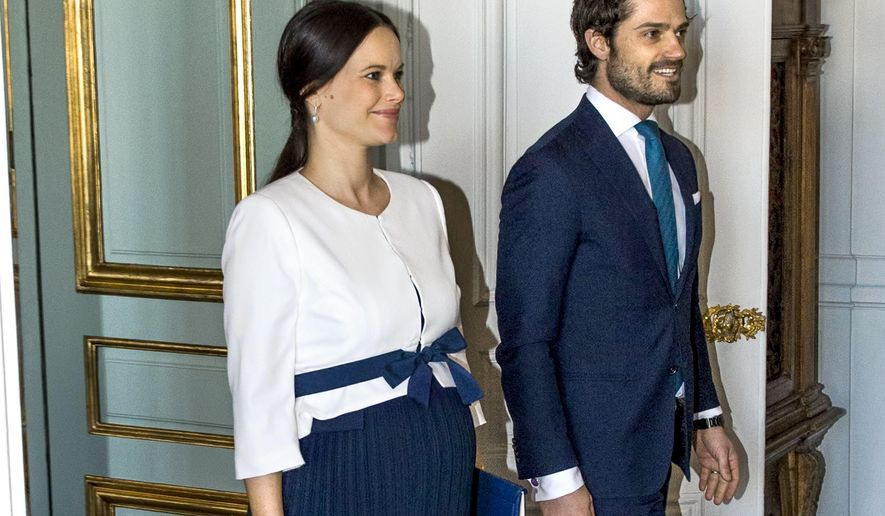 Sweden's Princess Sofia and Prince Carl Philip on a file photo taken at an event in Stockholm, Sweden, March 10, 2016. The Swedish Royal court announced Tuesday that the Princess has given birth to a healthy child. (Claudio Bresciani / TT via AP)  SWEDEN OUT