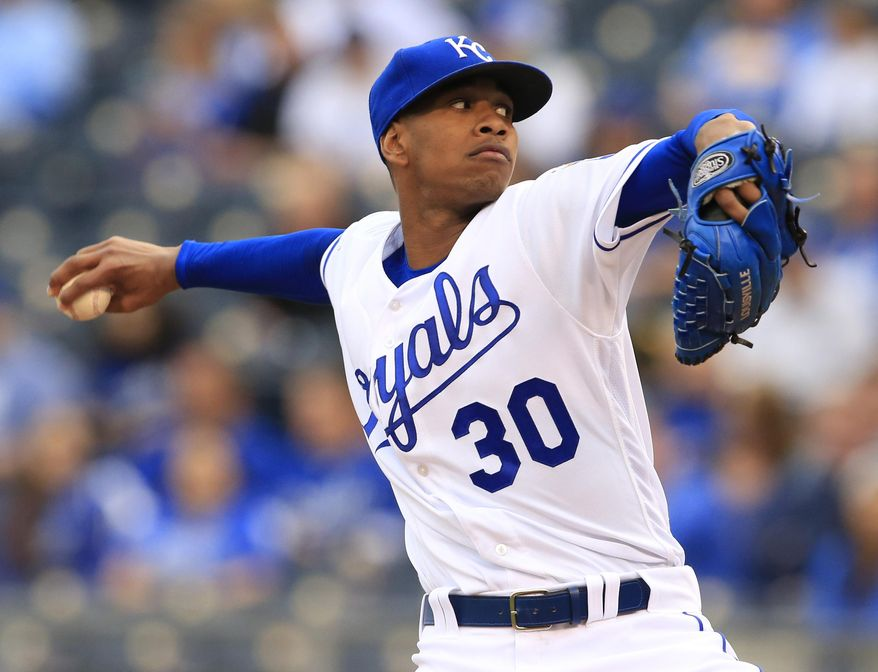 Kansas City Royals starting pitcher Yordano Ventura delivers to a Detroit Tigers batter during the first inning of a baseball game at Kauffman Stadium in Kansas City, Mo., Tuesday, April 19, 2016. (AP Photo/Orlin Wagner)
