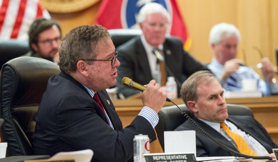 FILE - In this March 8, 2016, file photo, House Majority Leader Gerald McCormick, R-Chattanooga, speaks during a House Finance Committee hearing in Nashville, Tenn. McCormick on Tuesday, April 19, vowed retribution for companies that spoke out against a transgender bathroom bill, suggesting that lawmakers should consider limiting tax incentives and grants to them. (AP Photo/Erik Schelzig, File)