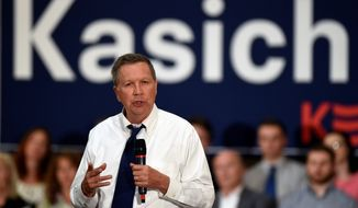 Republican presidential candidate Ohio Gov. John Kasich speaks during a campaign stop. (Associated Press)