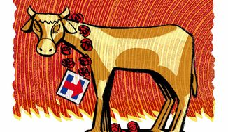 Illustration on Hillary Clinton and political funding by Alexander Hunter/The Washington Times