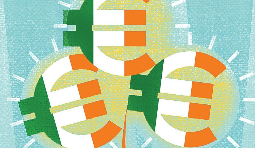 Illustration on the booming Irish economy by Linas Garsys/The Washington Times