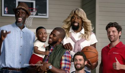 "The State Farm commercial series ""Meet the Hoopers"" began airing in December and has been playing throughout the NBA season. It features Los Angeles Clippers star DeAndre Jordan as the ""mom"" of a fictional Hoopers family, comprised of fellow NBA players Kevin Garnett, Damian Lillard, Kevin Love and Chris Paul. (Meet the hoopers via youtube)"