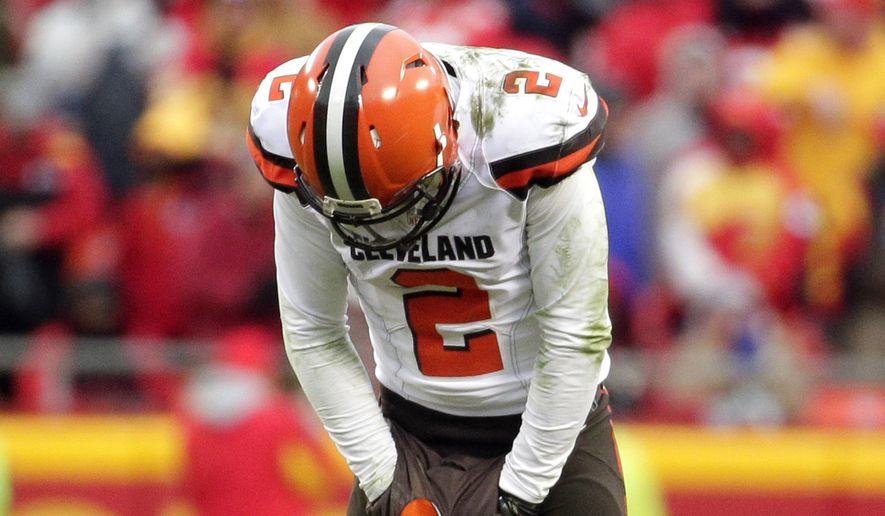 Cleveland Browns quarterback Johnny Manziel (2) reacts to an incomplete pass during the second half of an NFL football game against the Kansas City Chiefs in Kansas City, Mo., Sunday, Dec. 27, 2015. (AP Photo/Charlie Riedel)