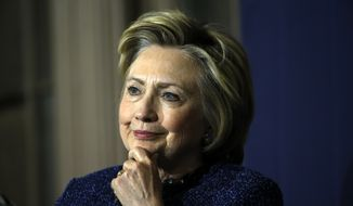 Democratic presidential candidate Hillary Clinton listens during a campaign stop, Wednesday, April 20, 2016, at St. Paul's Baptist Church in Philadelphia. (AP Photo/Matt Rourke)