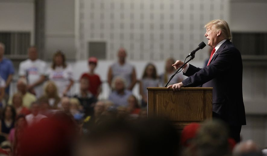 Republican presidential candidate Donald Trump speaks during a campaign stop, Wednesday, April 20, 2016, in Indianapolis. (AP Photo/Darron Cummings)