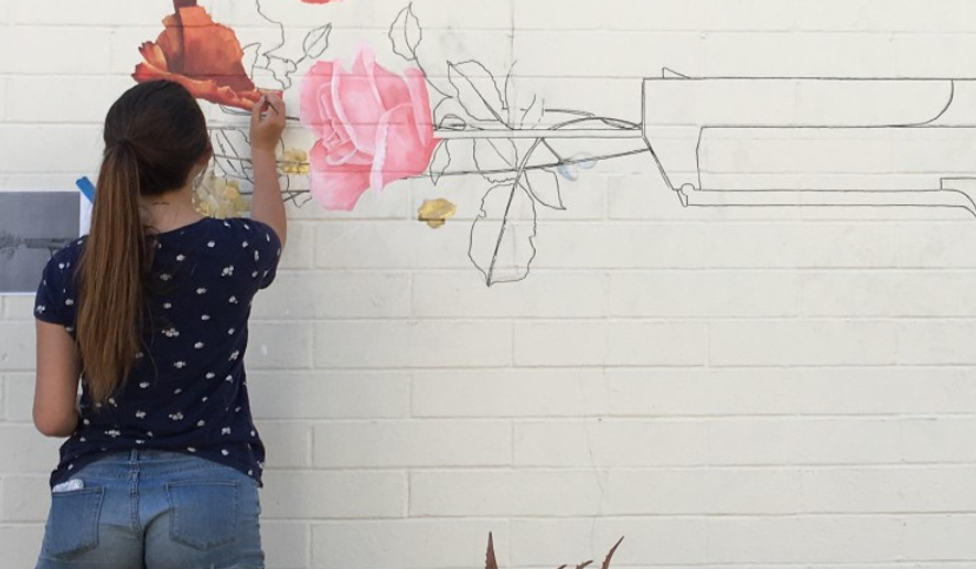 Gun mural at Pitzer College.