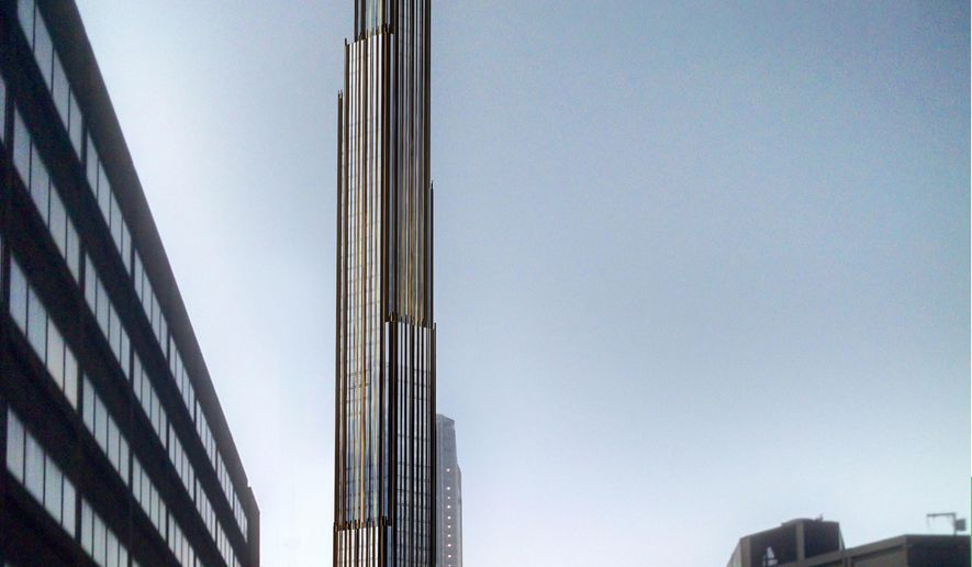 This artist's rendering provided by Shop Architects PC, shows a proposed 1,000-foot skyscraper to be built in the Brooklyn borough of New York. The New York City Landmarks Preservation Commission approved the proposal for the 73-story apartment tower on Tuesday, April 19, 2016. (SHoP Architects PC via AP)