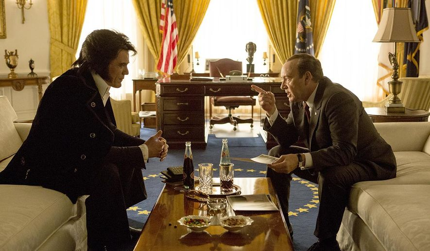 "In this image released by Bleecker Street, Michael Shannon portrays Elvis Presley, left, and Kevin Spacey portrays President Richard Nixon in a scene from ""Elvis & Nixon."" The film imagines what happened in between the margins on the strange December day in 1970 when Elvis Presley met Richard Nixon. (Steve Dietl/Bleecker Street via AP)"