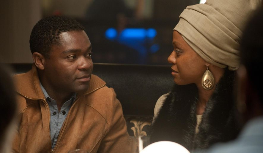 "This image released by RLJ Entertainment shows Zoe Saldana as Nina Simone, right, and David Oyelowo as Clifton Henderson in a scene from, ""Nina."" (Suzanne Tenner/RLJ Entertainment via AP)"