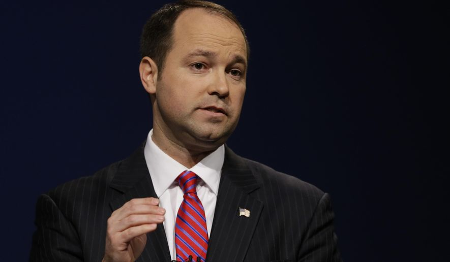 Indiana Republican candidate for U.S. Senate Marlin Stutzman speaks during a debate with opponent Todd Young in Indianapolis, Monday, April 18, 2016. (AP Photo/Michael Conroy)