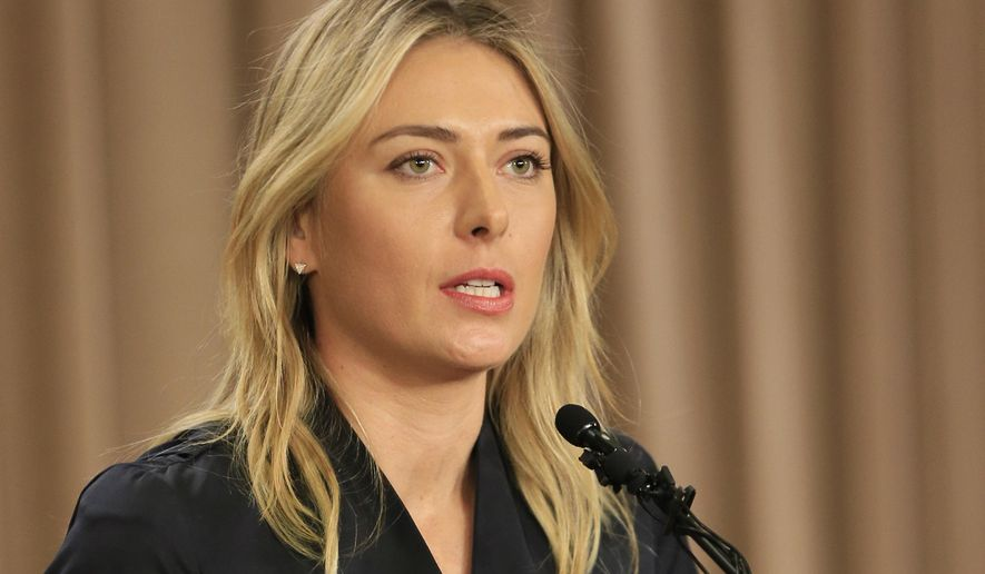 "FILE - In this March 7, 2016, file photo, Maria Sharapova speaks about her failed drug test during a news conference in Los Angeles.   International Tennis Federation president David Haggerty Wednesday April 20, 2016 said a disciplinary hearing is scheduled in Maria Sharapova's doping case, with a ruling possible before Wimbledon. Haggerty told reporters the independent Tennis Integrity Unit typically takes ""two to three months"" to process a case. That would suggest a verdict in June.(AP Photo/Damian Dovarganes, File)"