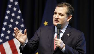 Republican presidential candidate, Sen. Ted Cruz, R-Texas, speaks during the Indiana Republican Party Spring Dinner Thursday, April 21, 2016, in Indianapolis. (AP Photo/Darron Cummings)