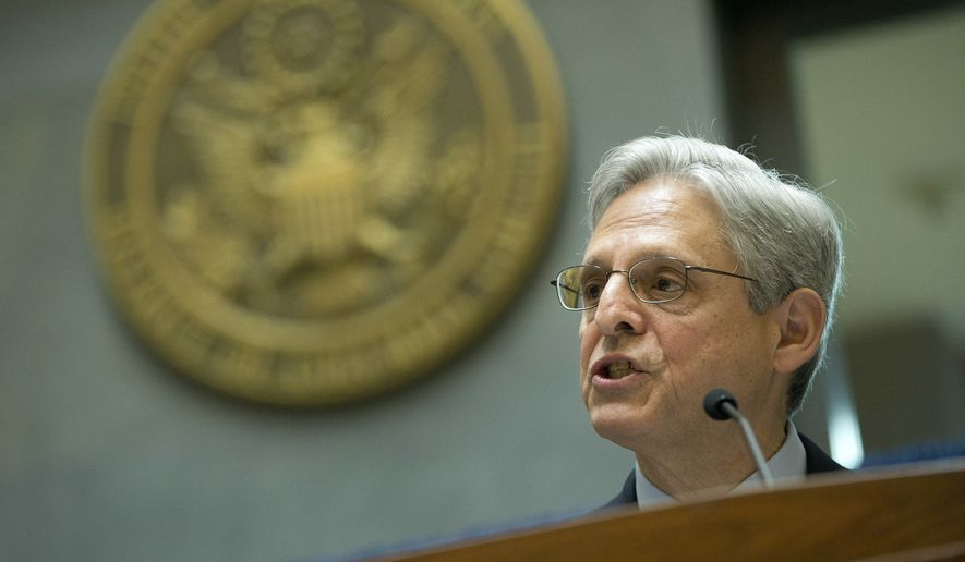 Judge Merrick Garland, President Barack Obama's choice to replace the late Justice Antonin Scalia on the Supreme Court, speaks at an awards breakfast for pro bono counsel at the E. Barrett Prettyman Courthouse in Washington, Thursday, April 21, 2016. (AP Photo/Pablo Martinez Monsivais) ** FILE **