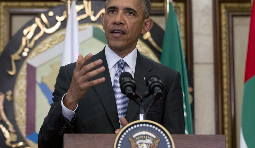 President Barack Obama speaks to the media after meetings at the Gulf Cooperation Council Summit at the Diriyah Palace in Riyadh, Saudi Arabia, Thursday, April 21, 2016. The president is on a six day trip to strategize with his counterparts in Saudi Arabia, England and Germany on a broad range of issues with efforts to rein in the Islamic State group being the common denominator in all three stops. (AP Photo/Carolyn Kaster)