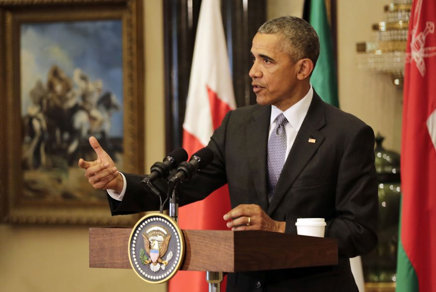 U.S. President Barack Obama gestures during a press conference in Riyadh, Saudi Arabia, Thursday, April 21, 2016. Obama met with Saudi King Salman and attended a meeting of Gulf Arab heads of state of the six Gulf Cooperation Council countries during his two-day visit to the kingdom. (AP Photo/Hasan Jamali)