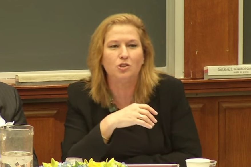 """A Harvard Law School student is under fire after asking longtime Israeli politician and former foreign minister Tzipi Livni why she is """"so smelly"""" during a public discussion on Israeli-Palestinian negotiations. (YouTube/@PON HLS)"""