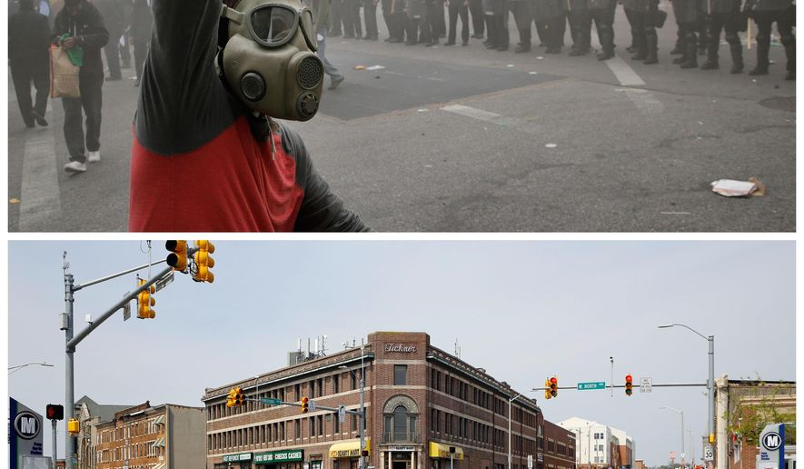 This combination of photos shows a demonstrator raising his fist on April 27, 2015, in front of police and a burning building during unrest following Freddie Gray's funeral, top, and a man walking children across the same street on April 19, 2016, in Baltimore. (AP Photo/Patrick Semansky)