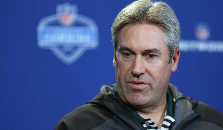 FILE - In this Wednesday, Feb. 24, 2016 file photo, Philadelphia Eagles head coach Doug Pederson speaks during a press conference at the NFL football scouting combine in Indianapolis. The Eagles have the second pick in the first round in next week's NFL draft in Chicago. (AP Photo/Michael Conroy, File)