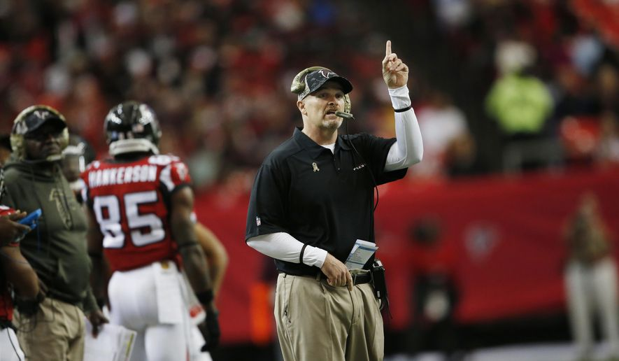 FILE - In this Nov. 22, 2015, file photo, Atlanta Falcons coach Dan Quinn watches play against the Indianapolis Colts during an NFL football game in Atlanta. The Falcons  have the 17th pick in the first round in next week's NFL draft in Chicago. (AP Photo/John Bazemore, File)