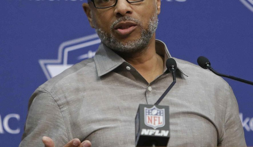 New York Giants general manager Jerry Reese responds to a question during a news conference Thursday, April 21, 2016, in East Rutherford, N.J. The Giants  have the 10th pick in the first round in next week's NFL draft in Chicago.  (AP Photo/Frank Franklin II)