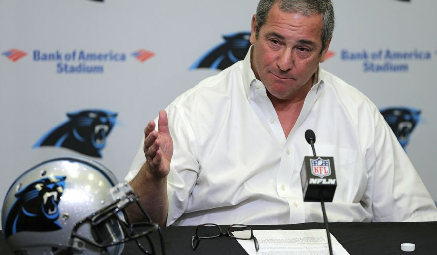 Carolina Panthers general manager Dave Gettleman talks about cornerback Josh Norman during a news conference for the NFL football team in Charlotte, N.C., Thursday, April 21, 2016. The Panthers have the 31st pick in the first round in next week's NFL draft in Chicago. (AP Photo/Chuck Burton)