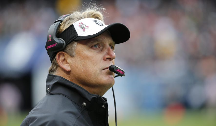 FILE - In this Sunday, Oct. 4, 2015 file photo, Oakland Raiders head coach Jack Del Rio looks at the scoreboard during the first half of an NFL football game against the Chicago Bears in Chicago. The Raiders  have the 14th pick in the first round in next week's NFL draft in Chicago. (AP Photo/Charles Rex Arbogast, File)