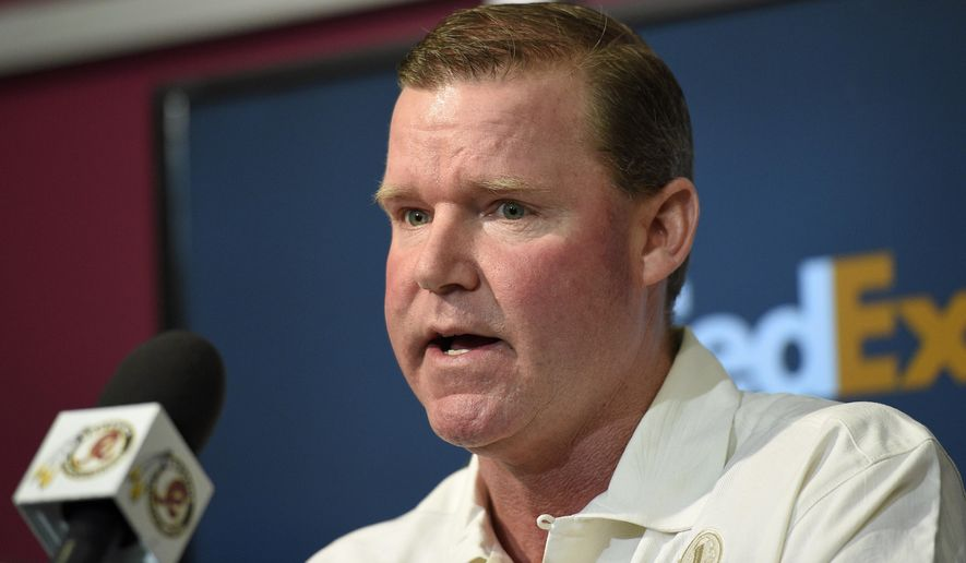 FILE - In this April 27, 2015, file photo, Washington Redskins general manager Scot McCloughan speaks to the media in Ashburn, Va.  Coming off an NFC East title and playoff appearance, the Redskins own the 21st overall pick in the draft, which starts Thursday night in Chicago. (AP Photo/Nick Wass, File)