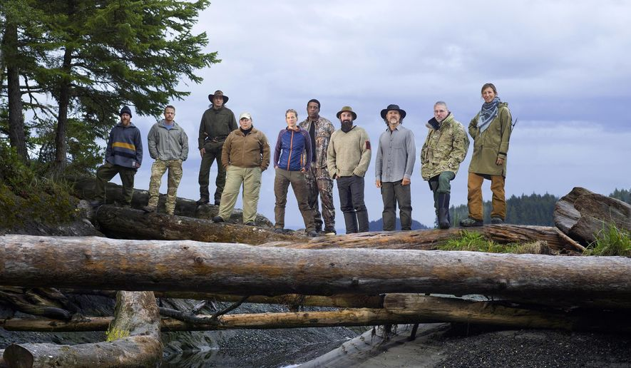 "This undated photo released by A&E Networks shows, from left, Larry Roberts, Justin Vititoe, Jose Martinez Amoedo, Tracy Wilson, Mary Kate Green, Desmond White, Randy Champagne, Mike Lowe, David McIntyre, and Nicole Apelian cast members on the second season of the survival competition series, ""Alone,"" premiering Thursday, April 21, 2016 on History. (Brendan Meadows/History via AP)"