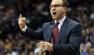 FILE - In this Dec. 28, 2014, file photo, Oklahoma City Thunder coach Scott Brooks yells from the sideline during the first half of an NBA basketball game against the Dallas Mavericks in Dallas. Two people familiar with the deal say the Washington Wizards have reached an agreement with Scott Brooks to become the team's new coach, Thursday, April 21, 2016. (AP Photo/LM Otero, File)