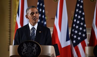 US President Barack Obama speaks during a press conference at the Foreign and Commonwealth Office in central London, Friday April, 22, 2016, with Britain's Prime Minister David Cameron, not pictured, following their talks at Downing Street.  Obama stepped into Britain's debate about EU membership and many other topics during his short visit to the UK.  (Ben Stansall / Pool via AP)